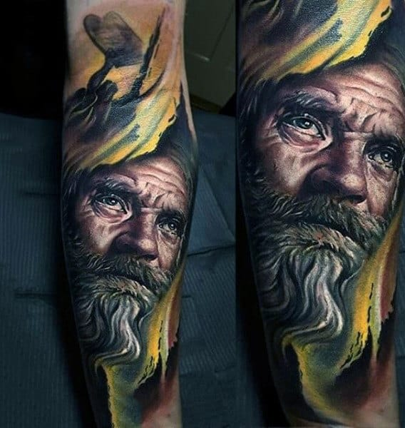 Realistic Religious Tattoo On Forearms For Men