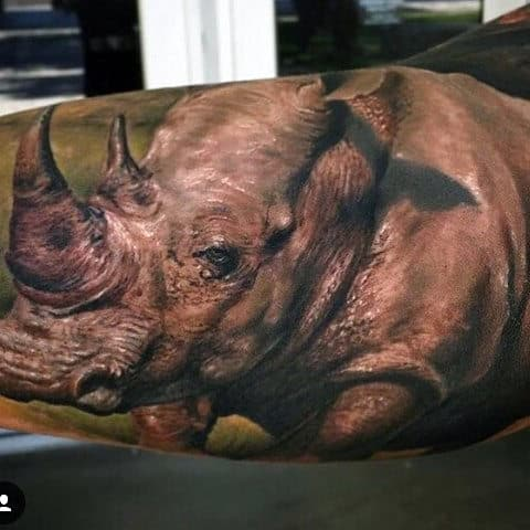 Realistic Rhino Inner Arm Sleeve Tattoos For Men