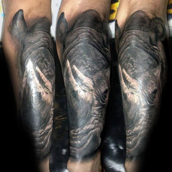 Realistic Rhino Mens Leg Tattoos