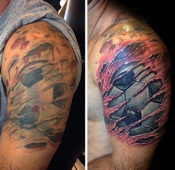 Realistic Ripped Skin Soccerball Mens Half Sleeve Tattoos