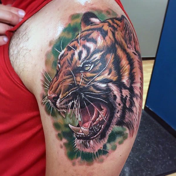 Realistic Roaring Tiger Watercolor Tattoo On Arms For Men