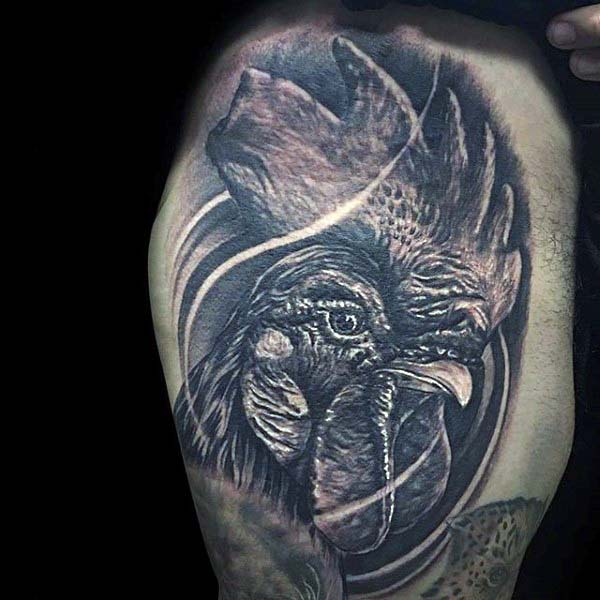 Realistic Rooster Tattoo For Men Thigh
