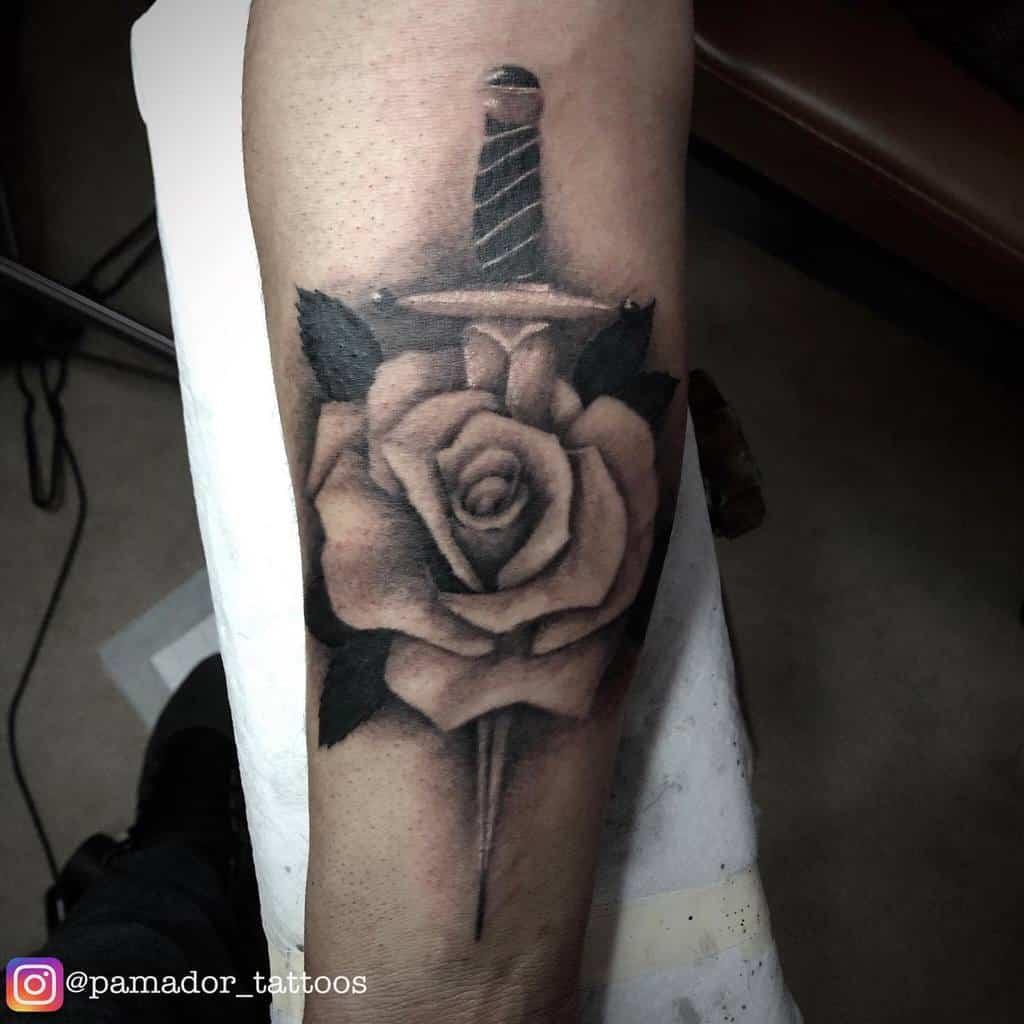 realistic rose and dagger tattoos pamador_tattoos