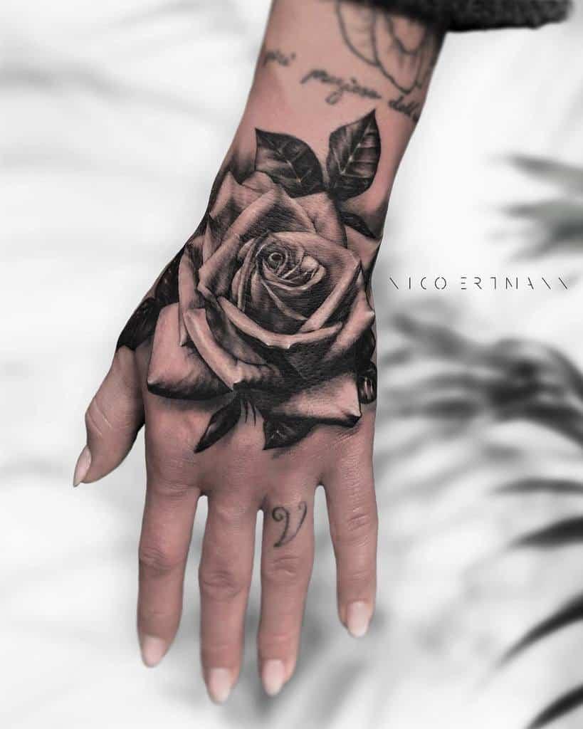 realistic rose hand tattoos nicoertmanntattoo