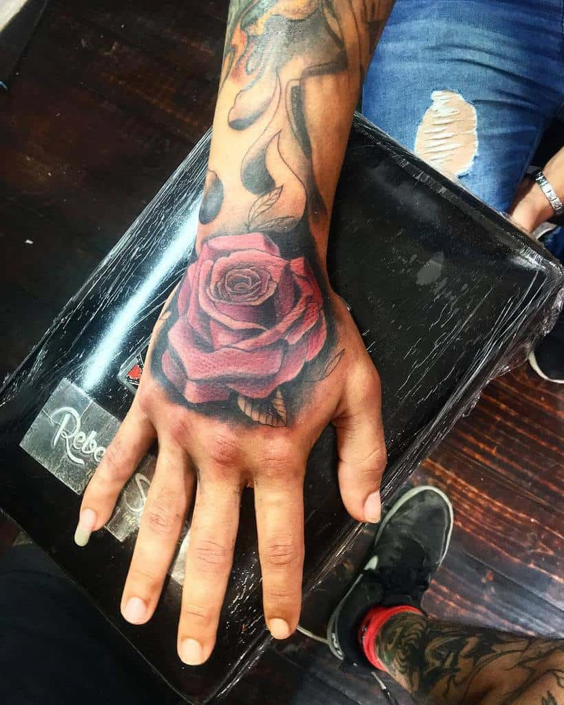 realistic rose hand tattoos thecalacascrew