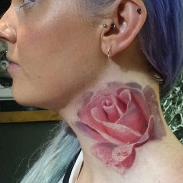 realistic rose neck tattoos leannefate