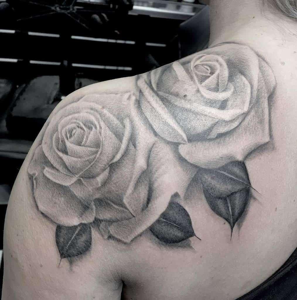 realistic rose shoulder tattoos feztattoo