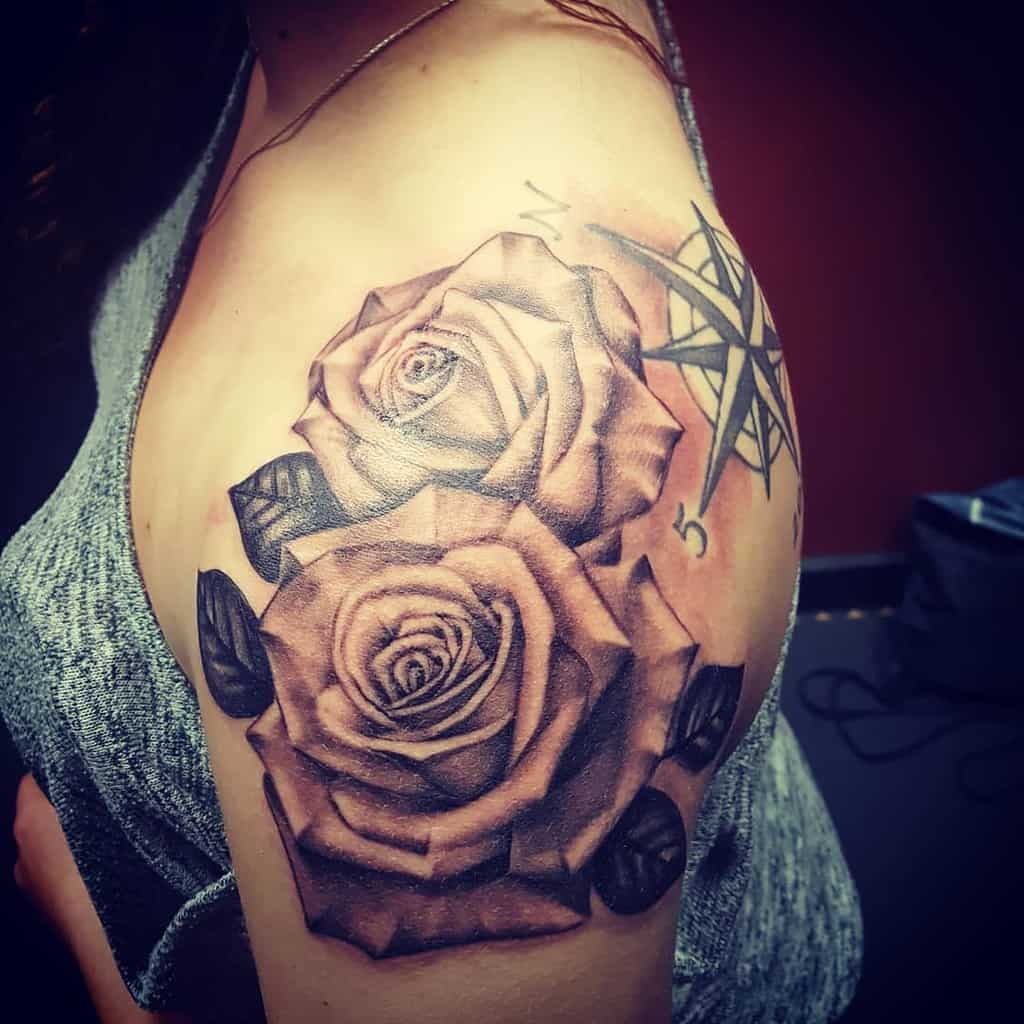 realistic rose shoulder tattoos inkandpaint