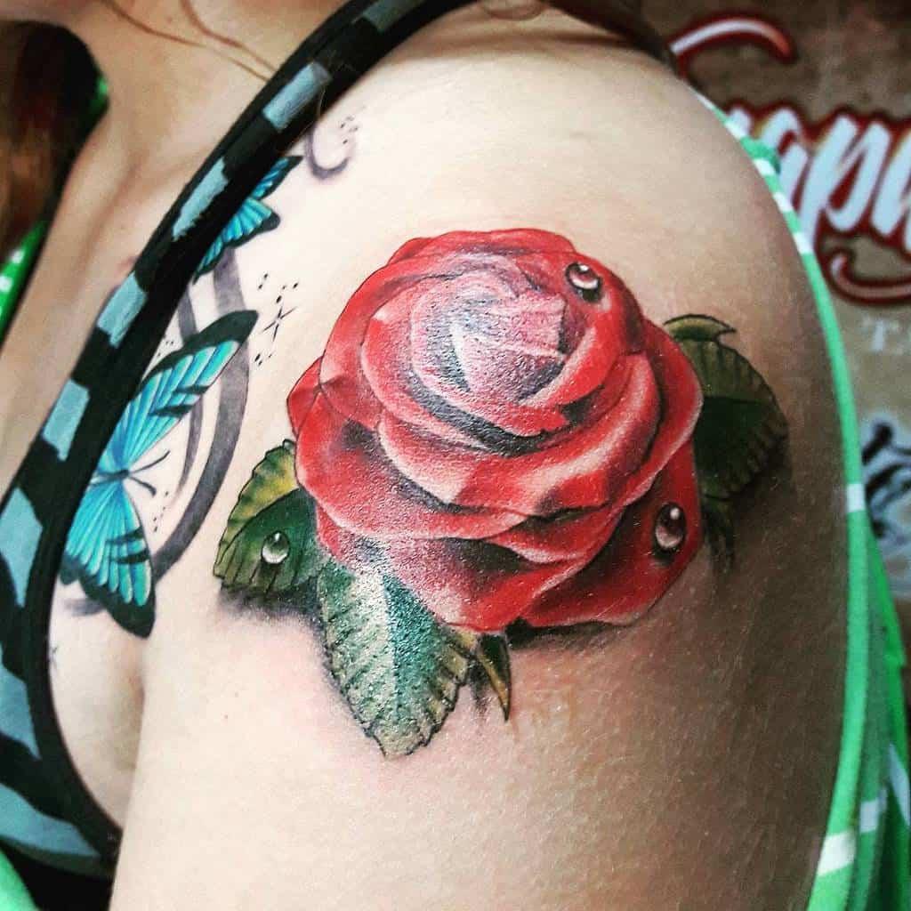 realistic rose shoulder tattoos kanapaz_ink