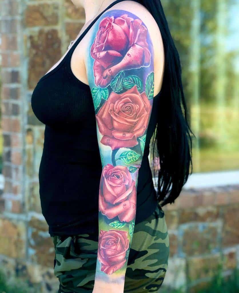 realistic rose sleeve tattoos lordevans
