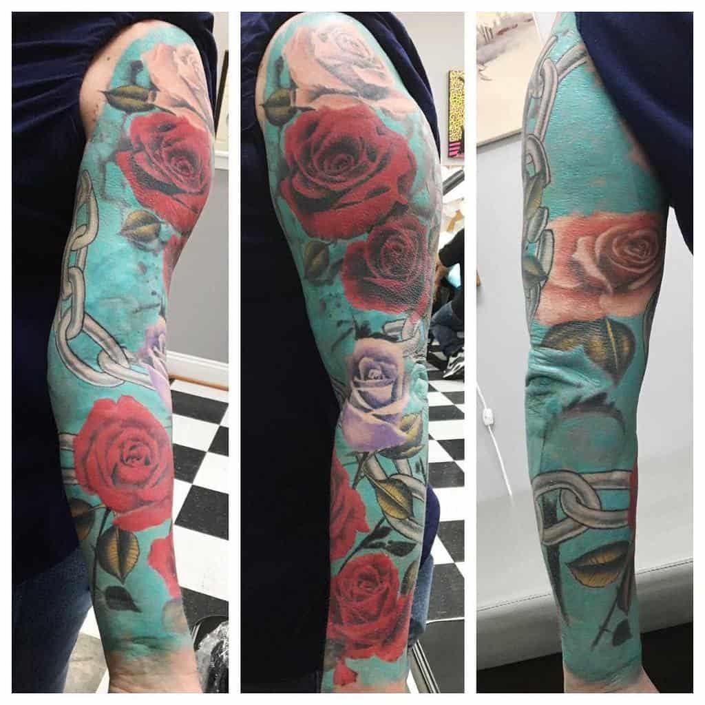 realistic rose sleeve tattoos noalox