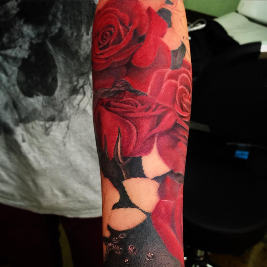 realistic rose sleeve tattoos tattoojune