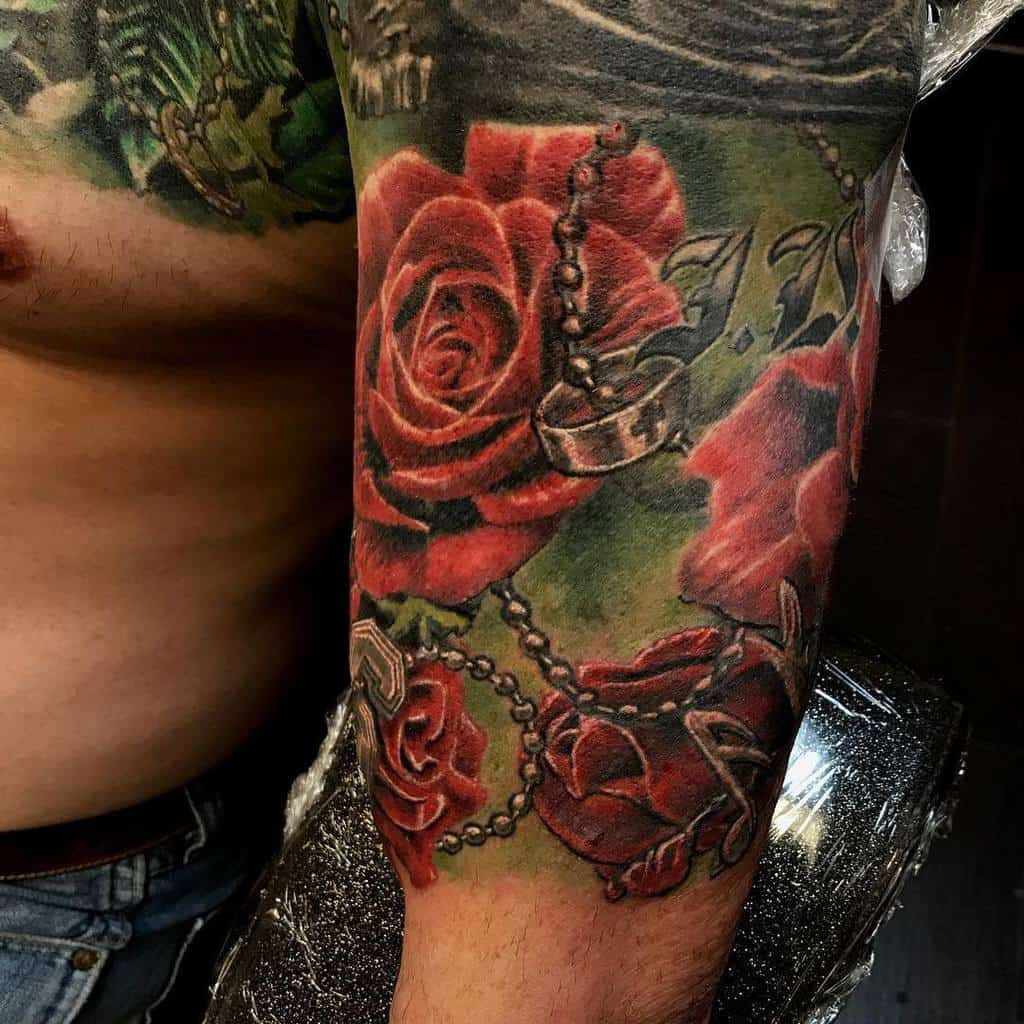 realistic rose sleeve tattoos terrymayo