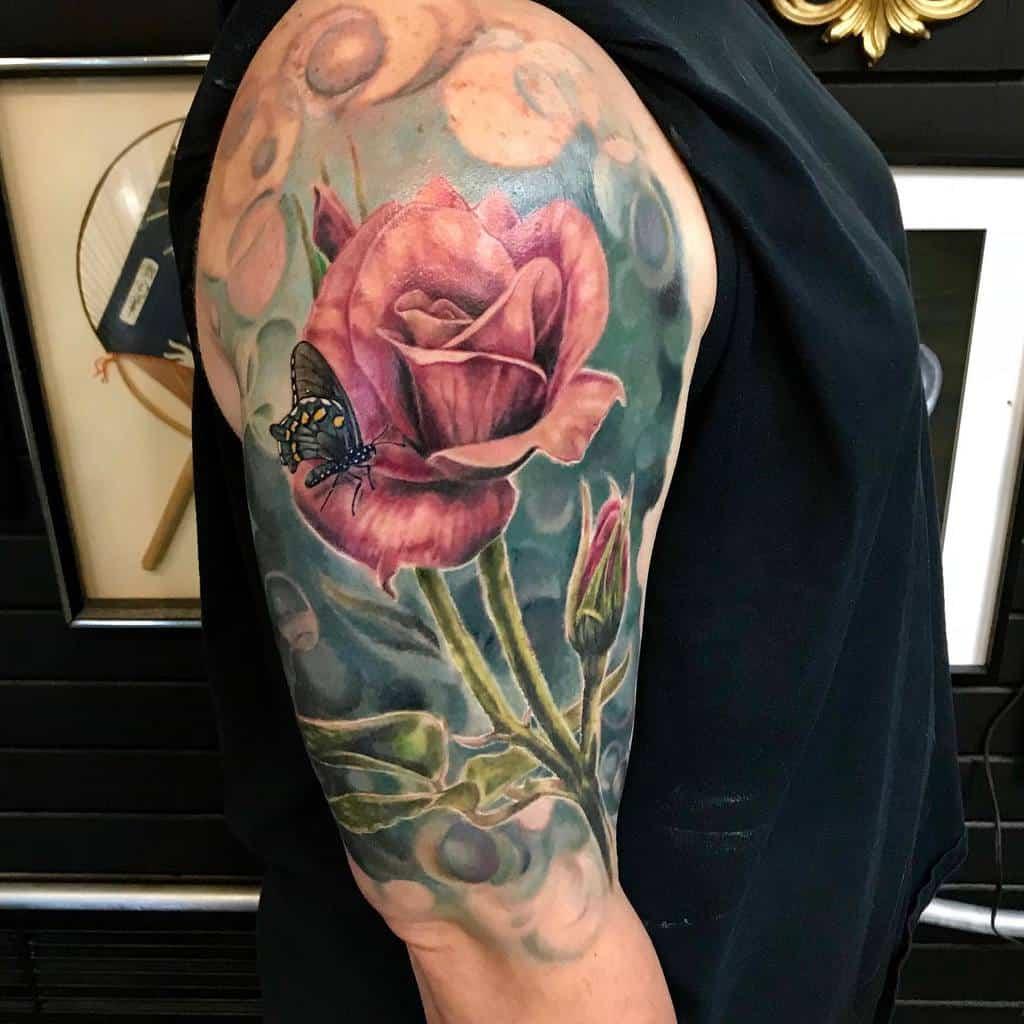 realistic rose with stem tattoos 2 seangilberttattoos