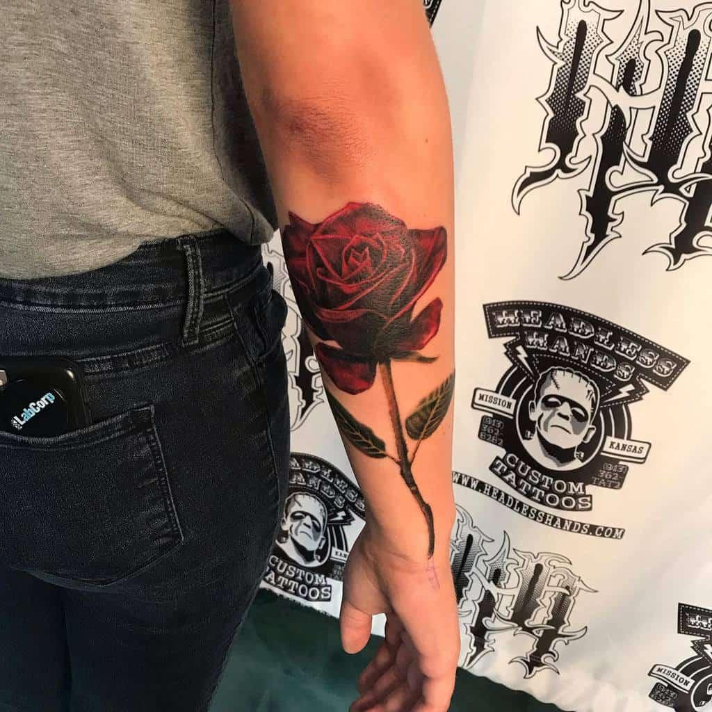 realistic rose with stem tattoos seangilberttattoos