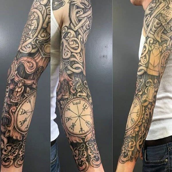 Realistic Rune Wood Carving Mens Knotwork Full Sleeve Tattoo