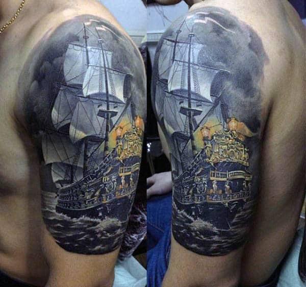 Realistic Sailboat Half Sleeve Tattoos For Gentlemen