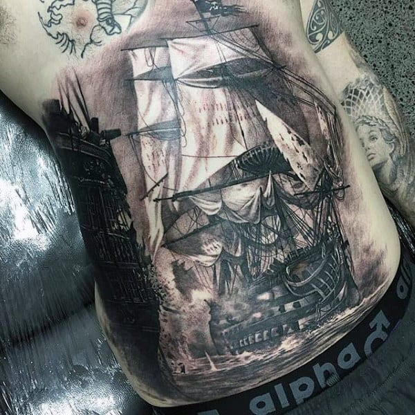 Realistic Sailing Ship Men Stomach Tattoo