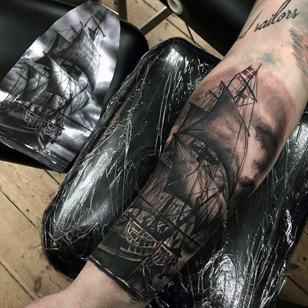 Realistic Sailing Ship Modern Mens Forearm Tattoo Design Ideas