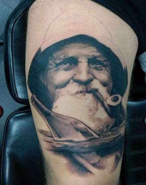 Realistic Sailor Nautical Thigh Tattoos For Males