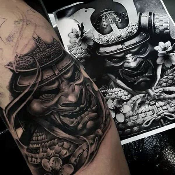 Realistic Samurai Helmet Male Arm Tattoos