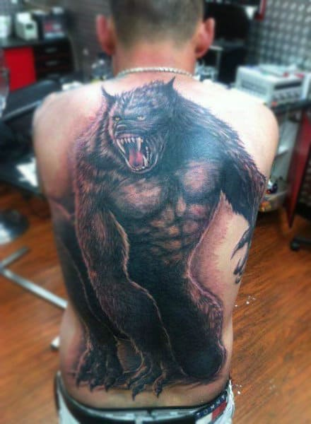 Realistic Scary Werewolf Tattoo Male Full Back