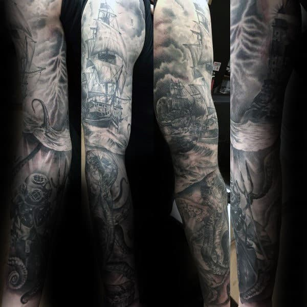 Realistic Scuba Diver Underwater Mens Kraken Sleeve Tattoos