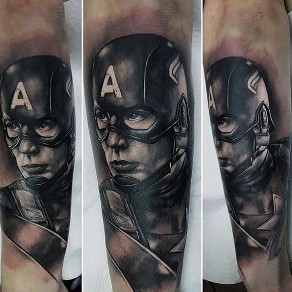 Realistic Shaded Black And Grey Ink Captain America Arm Tattoo On Male
