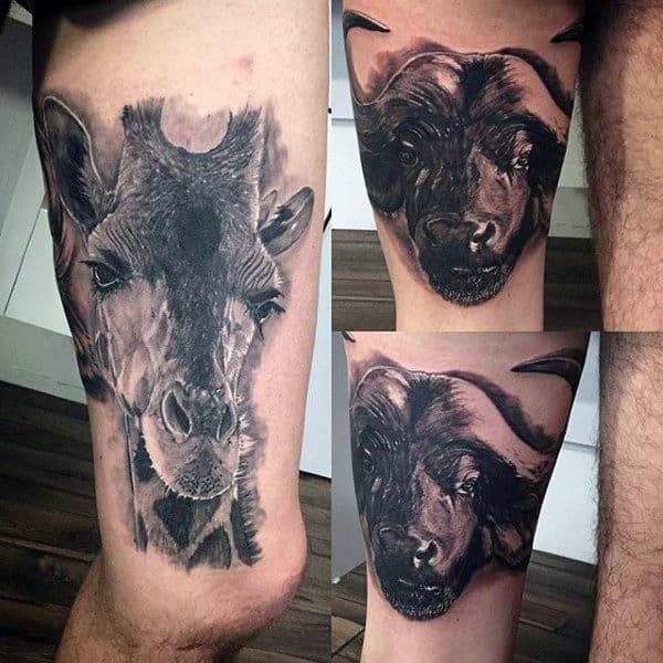 90 giraffe tattoo designs for men long neck ink ideas for Male thigh tattoos