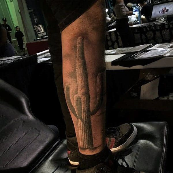 Realistic Shaded Cactus Leg Tattoo For Gentlemen