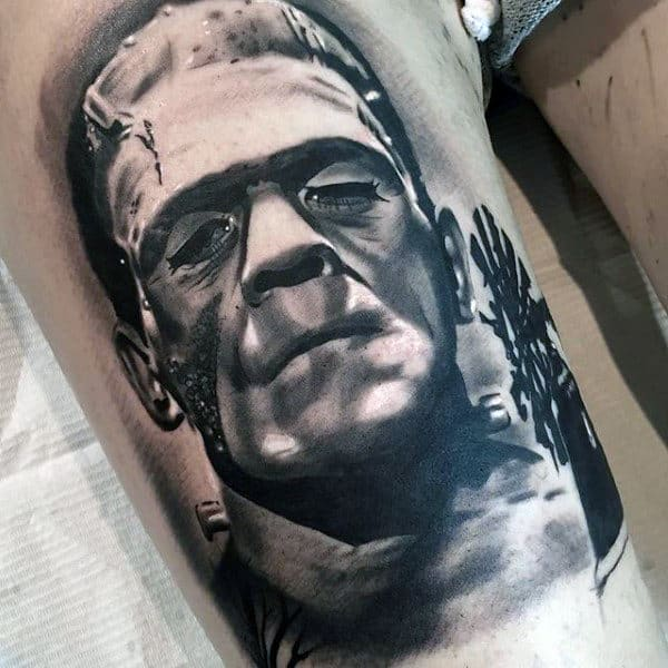 Realistic Shaded Frankenstein Tattoo On Mans Thigh