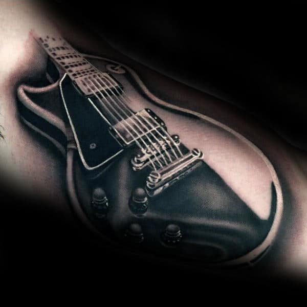 Realistic Shaded Inner Arm Guitar Tattoos For Men