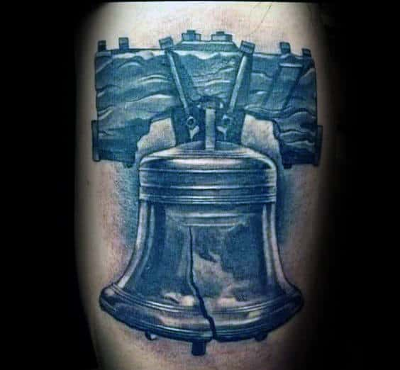Realistic Shaded Liberty Bell Male 3d Tattoo Ideas