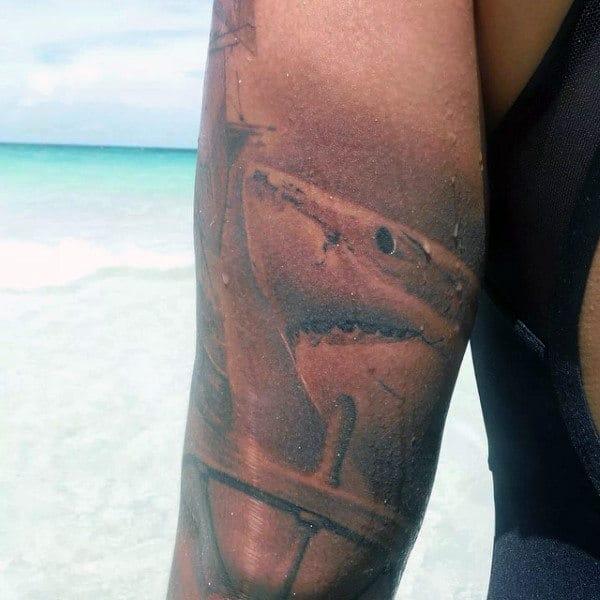 Realistic Shark And Ship Wheel Mens Arm Tattoos