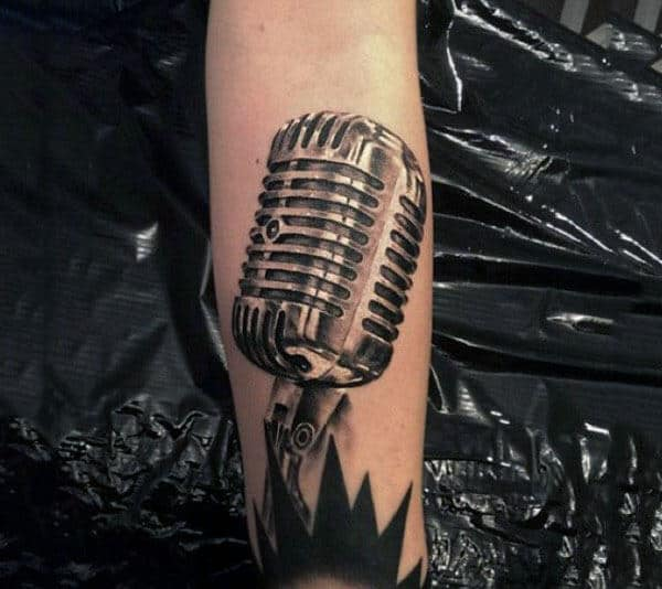 Realistic Shiny Metal Microphone Tattoo Males Forearms