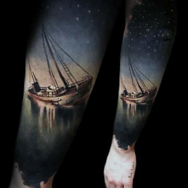 Realistic Ship At Sea With Night Sky Guys Nautical Forearm Sleeve Tattoos