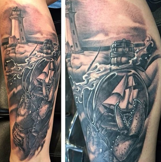 Realistic Ship In A Bottle Mens Forearm 3d Tattoo Ideas