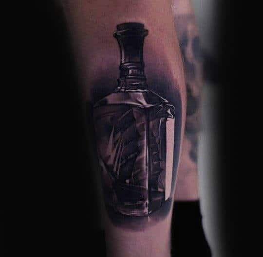 Realistic Ship In A Bottle Mens Tattoo Forearm