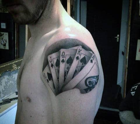 Realistic Shoulder Playing Card Male Tattoo Ideas