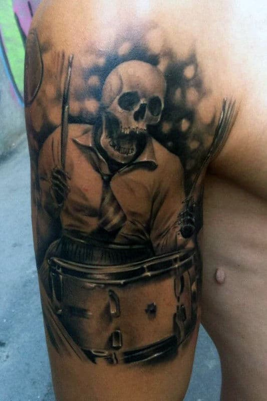 Realistic Skeleton Playing Drums Mens Half Sleeve Tattoo