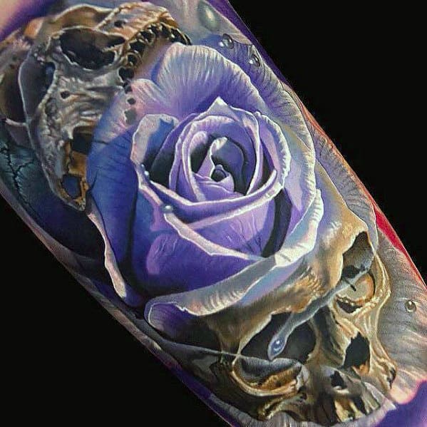Realistic Skull With Purple Rose Flower Mens Arm Tattoo
