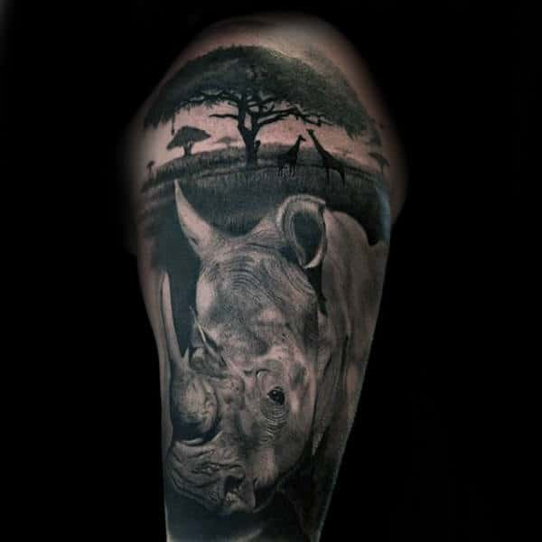 Realistic Sleeve Rhino Tree Mens Africa Tattoos