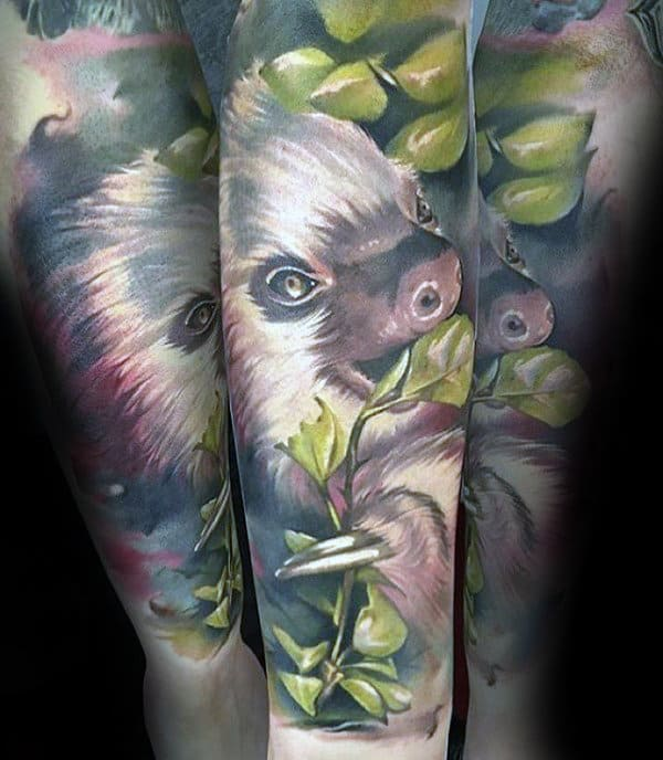 Realistic Sloth Forearm Sleeve Tattoos For Men