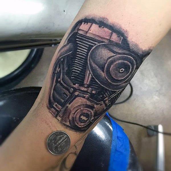 Realistic Small Harley Davidson Engine Mens Shaded Forearm Tattoos