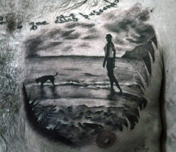 Realistic Small Man Walking Beach With Dog Mens Chest Tattoo