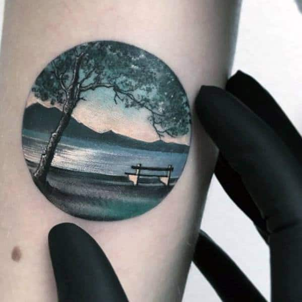 Realistic Small Nature Landscape Guys Cool Inner Forearm Tattoo