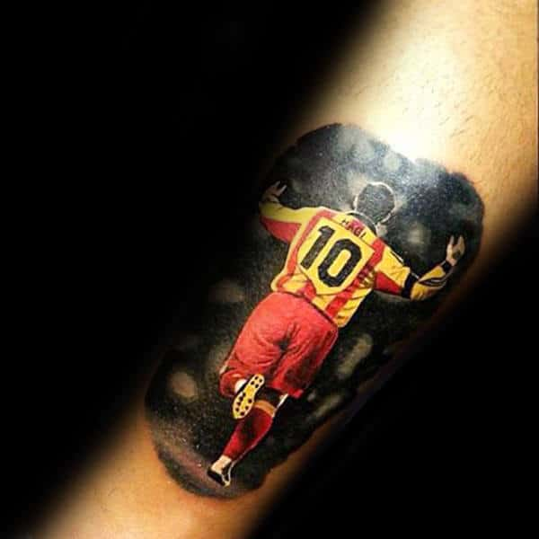 Realistic Soccer Player Cheering On Fans Mens Forearm Tattoos