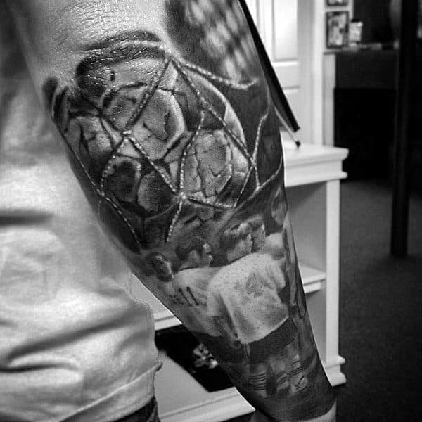 Realistic Soccer Themed Forearm Sleeve On Male