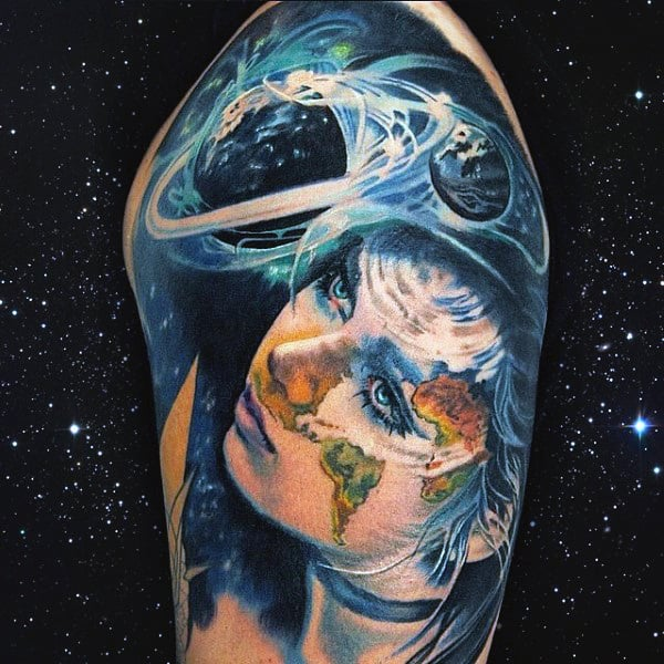 Realistic Solar System Tattoos For Men On Arm Half Sleeve