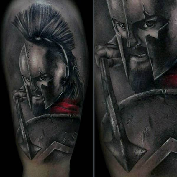 Realistic Spartan With Spear Mens Shaded Grey And Red Ink Half Sleeve Tattoos